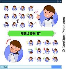 płaski, typ, zaopatrywać, personel, błękitny jednolity, women_icon