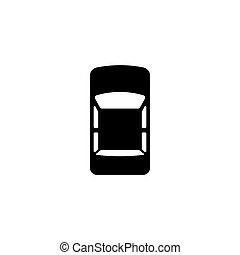 płaski, wóz, górny, wektor, ikona, prospekt