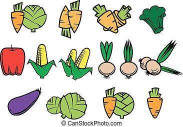 płaski, warzywa, ikony, świeży