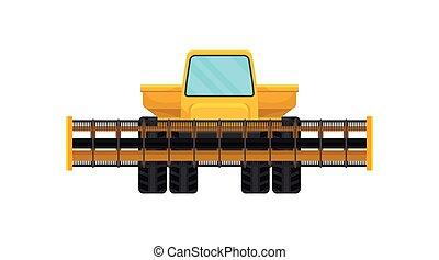 płaski, wektor, żniwa, zagroda, equipment., harvester., machinery., maszyna, połączyć, żółty, profesjonalny, rolniczy, albo, ikona