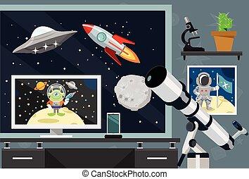 płaski, wektor, astronomia, ilustracja