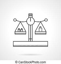 płaski, wektor, ciężary, kreska, waga, ikona