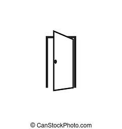 płaski, wektor, drzwi, ikona