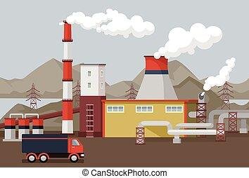 płaski, wektor, fabryka, ilustracja