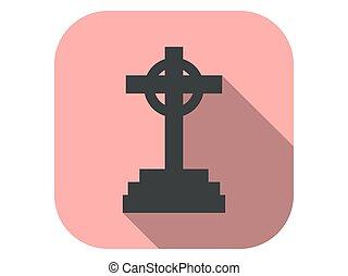 płaski, wektor, grób, długi, ikona, nagrobek, halloween, ...