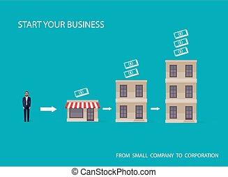 płaski, wektor, handlowy, autobus, concept., ilustracja, ...