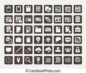 płaski, wektor, ikony, zbiór