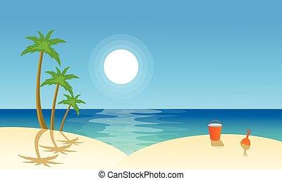 płaski, wektor, plaża, krajobraz, zbiór