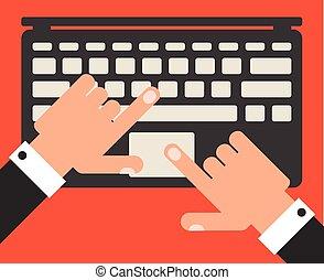 płaski, wektor, projektować, biznesmen, laptop