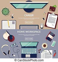 płaski, wektor, projektować, workspace, ilustracja