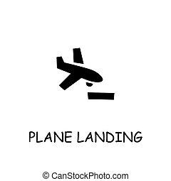 płaski, wektor, samolot, lądowanie, ikona