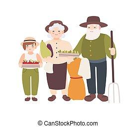 płaski, wektor, vegetables., dojrzały, gospodarze, litery, dziadkowie, zbierał, wnuk, odizolowany, starszy, rysunek, ich, wnuk, tło., dzierżawa, harvest., nosić, biały, para, illustration.