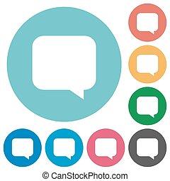 płaski, wiadomość, bańka, okrągły, ikony