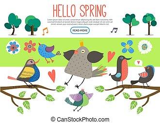 płaski, wiosna, elementy, zbiór