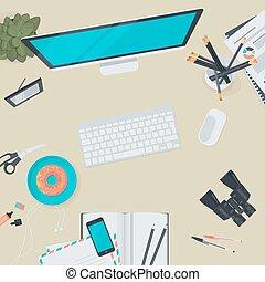 płaski, workspace, pojęcie, projektować