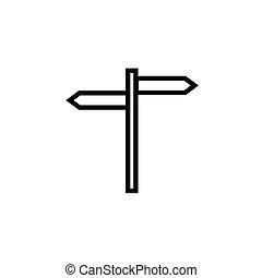 płaski, wskazówka, wektor, icon., symbol., ilustracja, drogowskaz