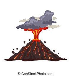płaski, wulkaniczny, popielisko, wybuch, dym, -,...