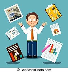 płaski, wykresy, wektor, projektować, papiery, biznesmen