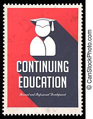 płaski, wykształcenie, kontynuowanie, czerwony, design.