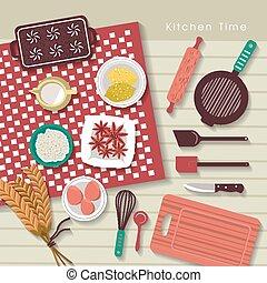 płaski, wypiek, składniki, projektować, stół, kuchnia