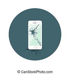 płaski, złamany, iphone, biały okrążają, ikona