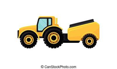 płaski, zbiornik, żółty, element, machinery., wektor, reklama, water., rolniczy, chorągiew, traktor