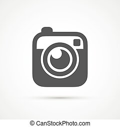 płaski, zdejmować aparat fotograficzny, hipster, modny, ikona