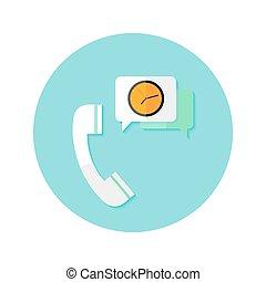płaski, zegar, prośba, callback, czas, koło, ikona