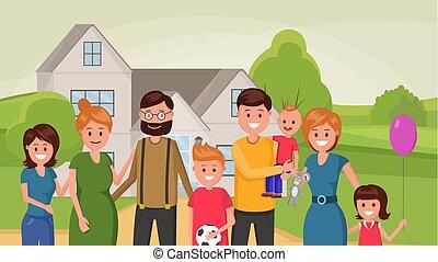 płaski, zjednoczony, rodzina, afisz, razem, zewnątrz