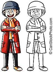 płaszcz, czerwony, człowiek