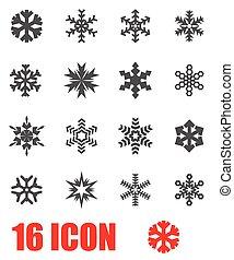 płatek śniegu, wektor, komplet, szary, ikona