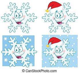 płatek śniegu, zbiór, komplet, wektor, rysunek, character.
