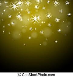 płatki śniegu, żółte tło, środki, sezonowy, mróz, albo,...