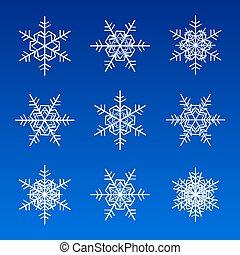 płatki śniegu, biały, odizolowany, na, błękitny