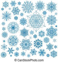 płatki śniegu, boże narodzenie, wektor, icons., śniegowa łuska, zbiór, graficzna sztuka