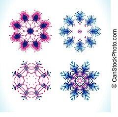 płatki śniegu, komplet, fractals