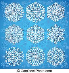 płatki śniegu, na, błękitne tło