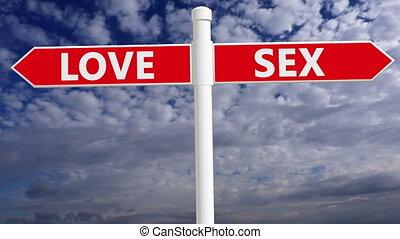 płeć, drogowskaz, biały, kolor, czerwony, miłość, pojęcie