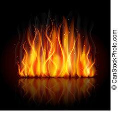 płomień, płonący, tło