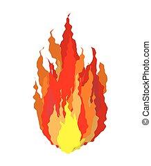 płomienie, ogień znaczą, isolated., tło, biały