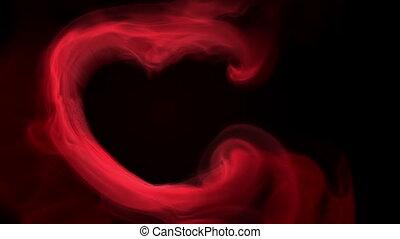 płomienie, serce, dym, czerwony