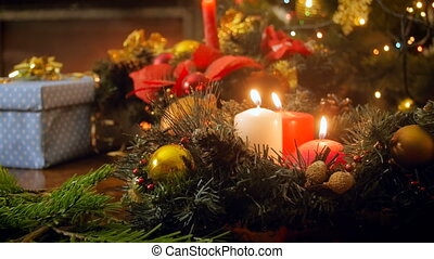 płonący, świece, długość mierzona w stopach, wieniec, trzy,...