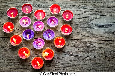 płonący, świece, załatwiony, w, przedimek określony przed rzeczownikami, formułować, od, serce