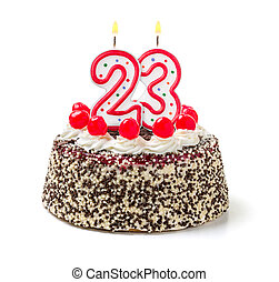 płonący, 23, liczba, urodzinowy placek, świeca