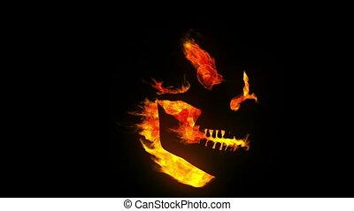 płonący, czaszka