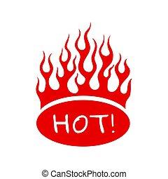 płonący, czerwony, ogień, płomień, na, owal, znak, gorący, dla, menu