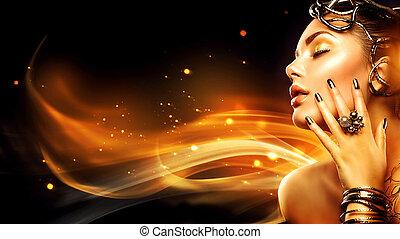 płonący, kobieta, głowa, profile., piękno, fason modelują, dziewczyna, z, złoty, makijaż