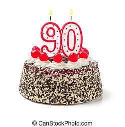 płonący, liczba, urodzinowa świeca, ciastko, 90
