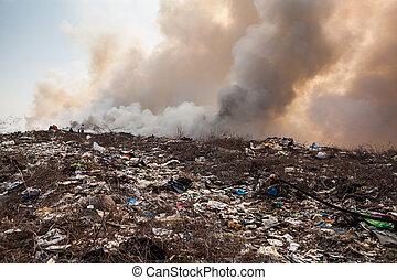 płonący, odpadki, stos, dym