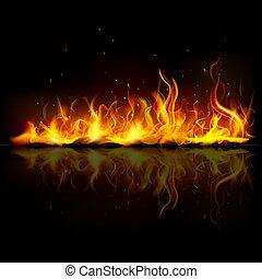 płonący, ogień, płomień